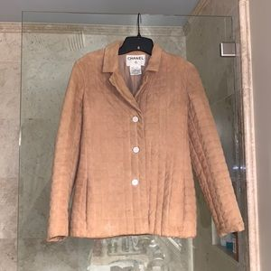 Chanel - 34 Suede Goat Silk France Quilted coat XS